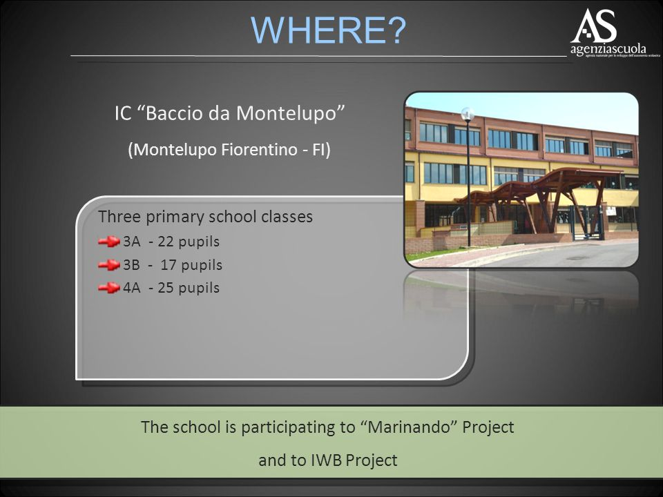 IC Baccio da Montelupo (Montelupo Fiorentino - FI) The school is participating to Marinando Project and to IWB Project WHERE.