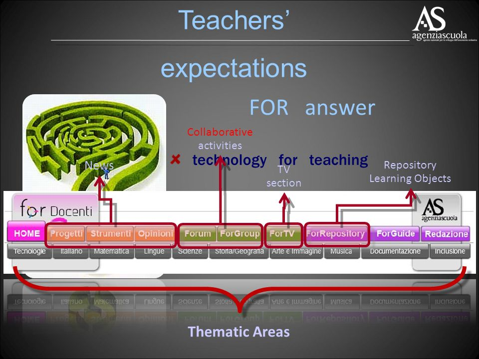 technology for teaching improvement of their own teaching subjects Thematic Areas News Collaborative activities TV section Repository Learning Objects FOR answer Teachers expectations