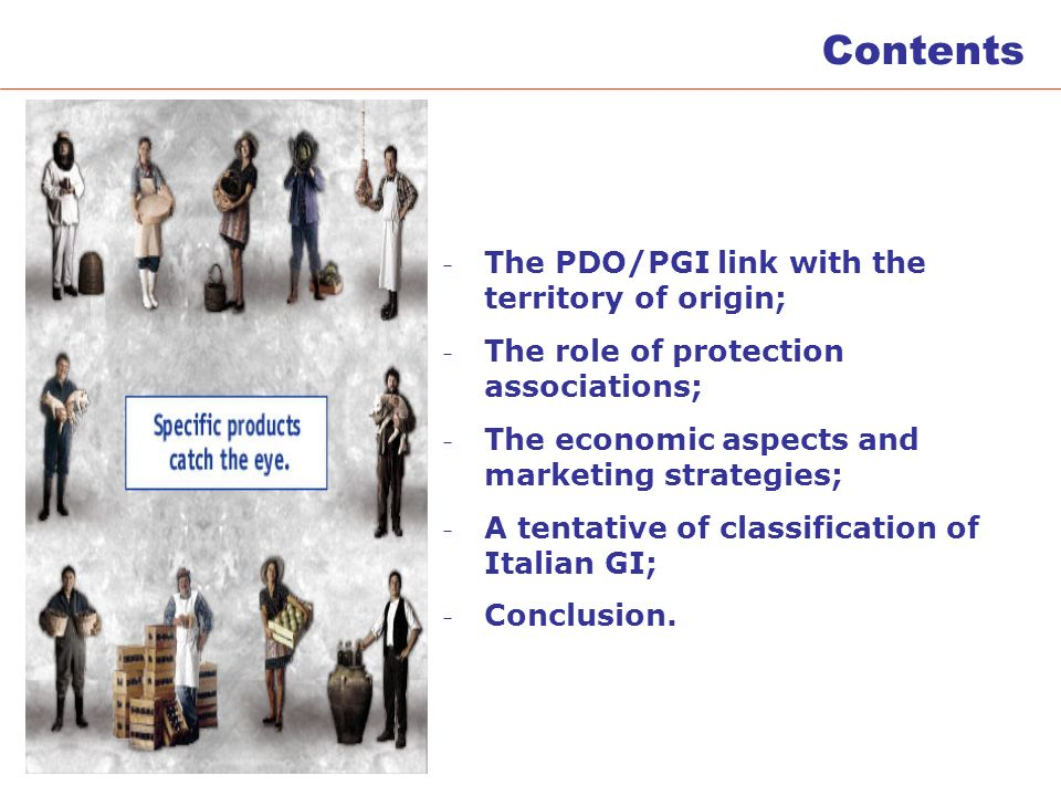 Contents - The PDO/PGI link with the territory of origin; - The role of protection associations; - The economic aspects and marketing strategies; - A tentative of classification of Italian GI; - Conclusion.