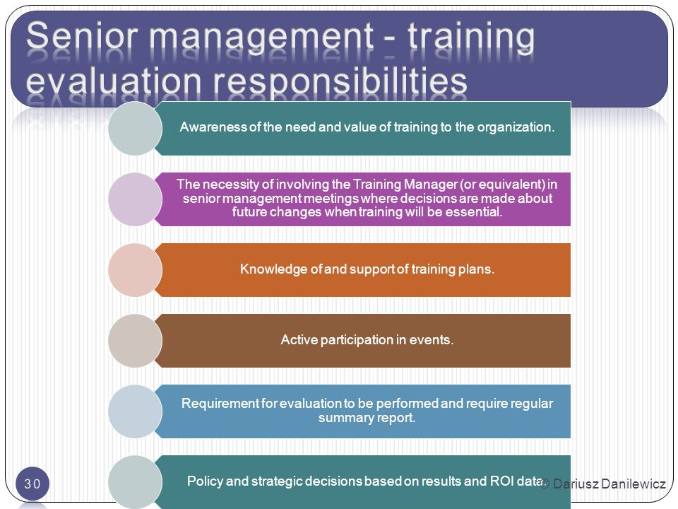 Awareness of the need and value of training to the organization.
