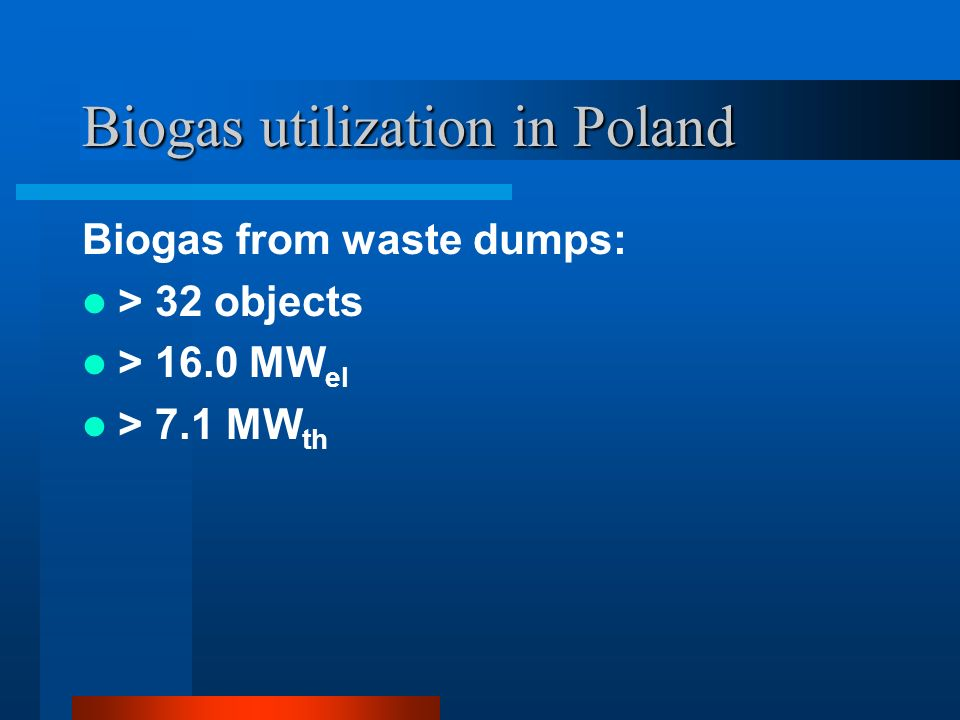Biogas utilization in Poland Biogas from waste dumps: > 32 objects > 16.0 MW el > 7.1 MW th
