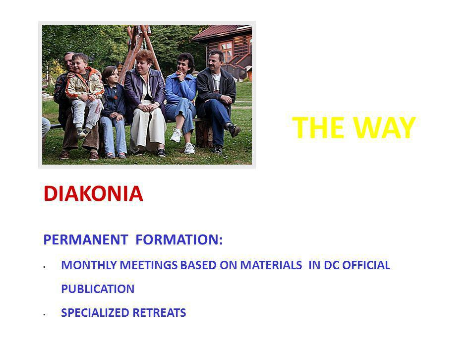 THE WAY DIAKONIA PERMANENT FORMATION: MONTHLY MEETINGS BASED ON MATERIALS IN DC OFFICIAL PUBLICATION SPECIALIZED RETREATS