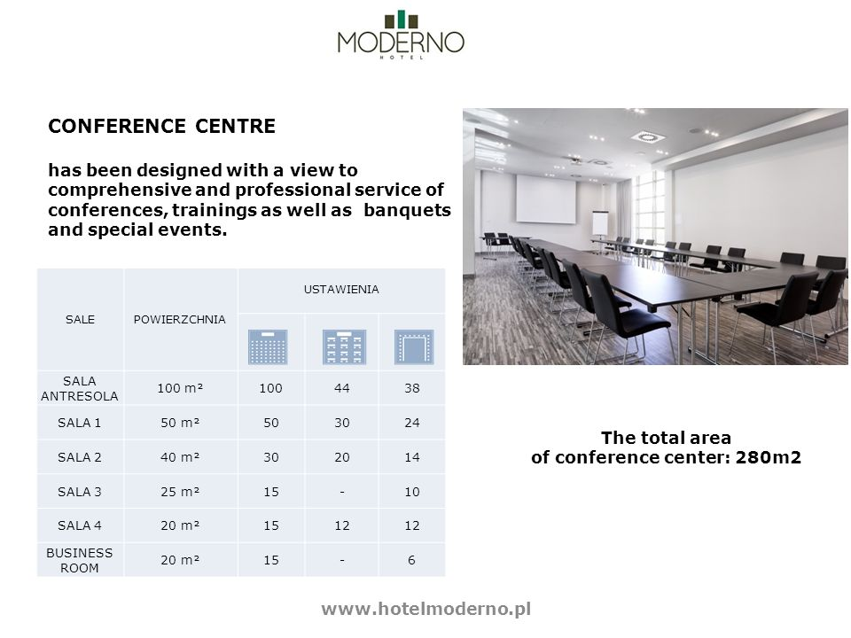 CONFERENCE CENTRE has been designed with a view to comprehensive and professional service of conferences, trainings as well as banquets and special events.