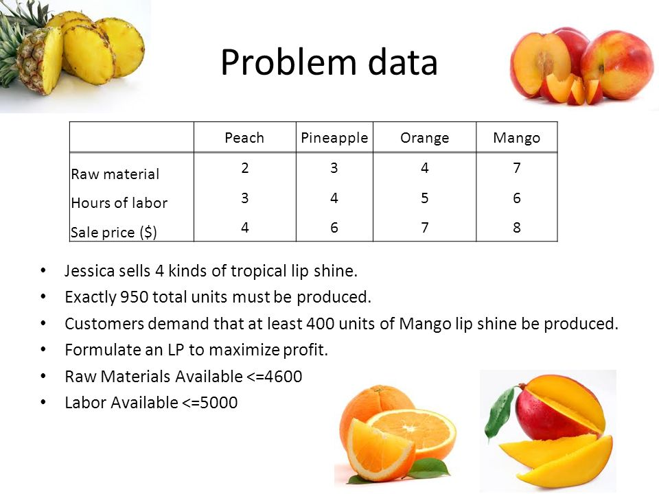 Problem data Jessica sells 4 kinds of tropical lip shine.
