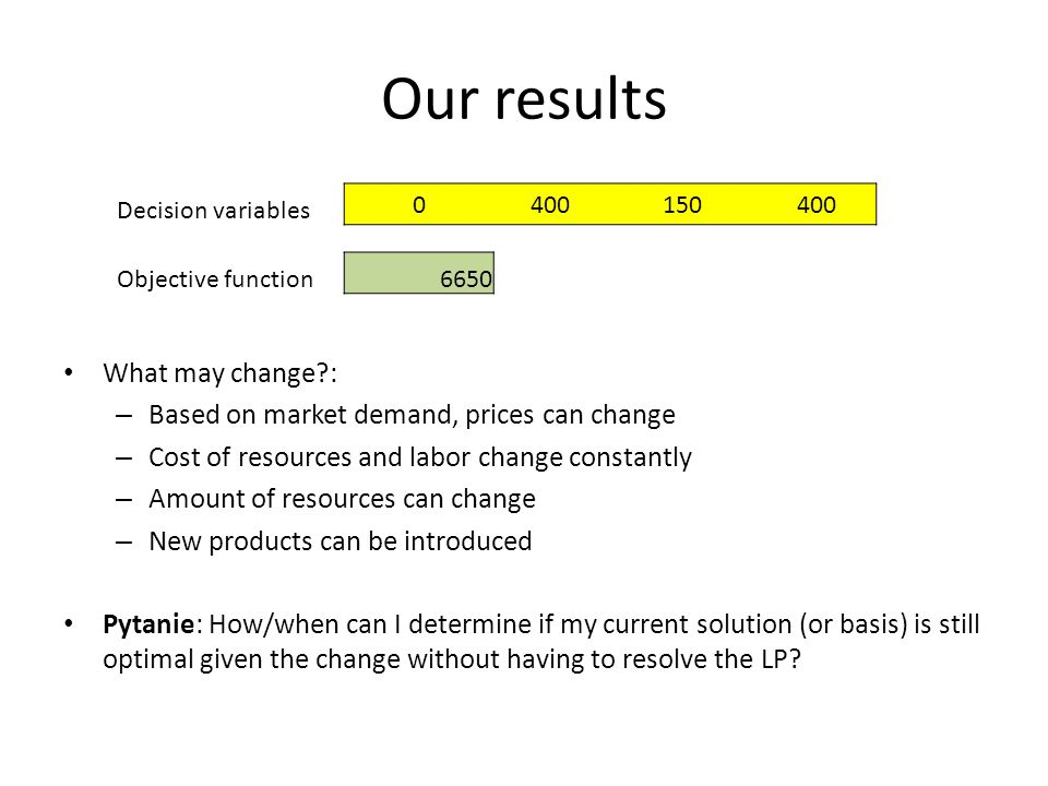 Our results What may change : – Based on market demand, prices can change – Cost of resources and labor change constantly – Amount of resources can change – New products can be introduced Pytanie: How/when can I determine if my current solution (or basis) is still optimal given the change without having to resolve the LP.