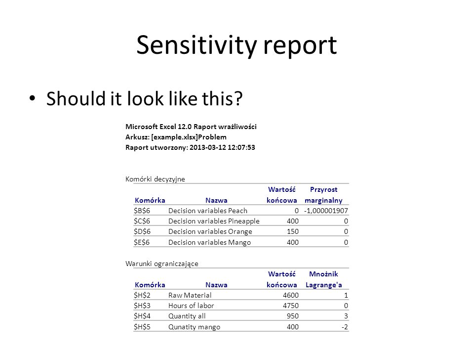 Sensitivity report Should it look like this.