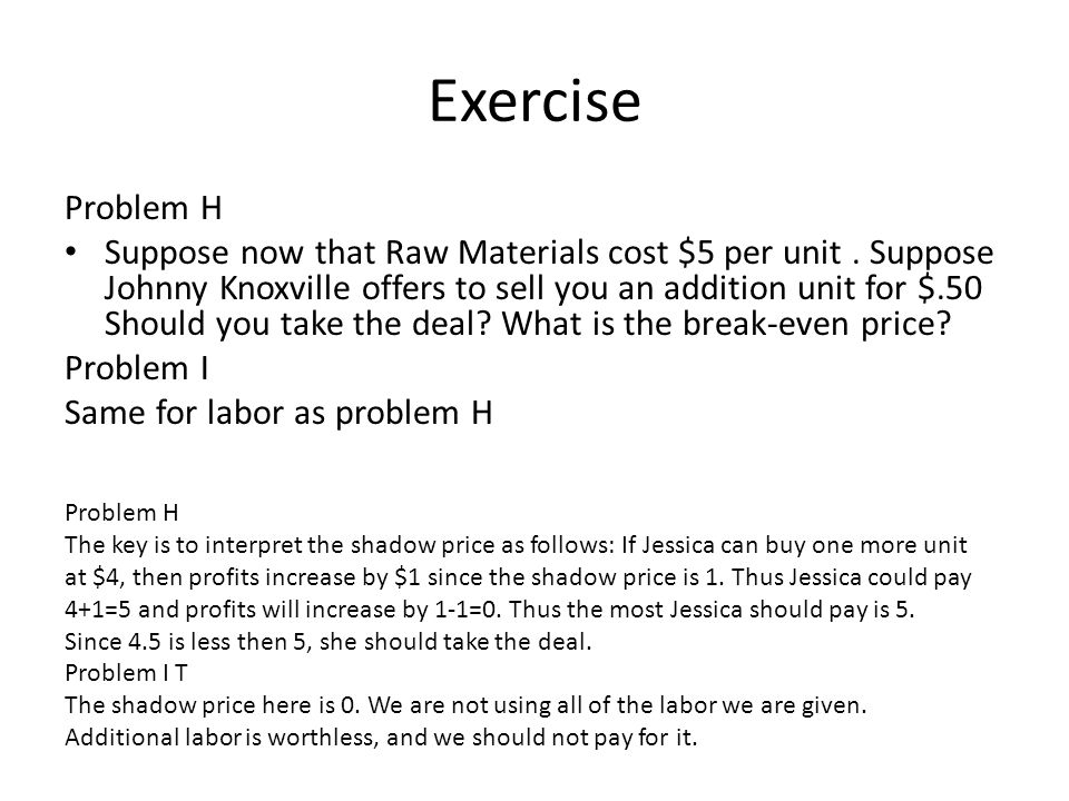 Exercise Problem H Suppose now that Raw Materials cost $5 per unit.