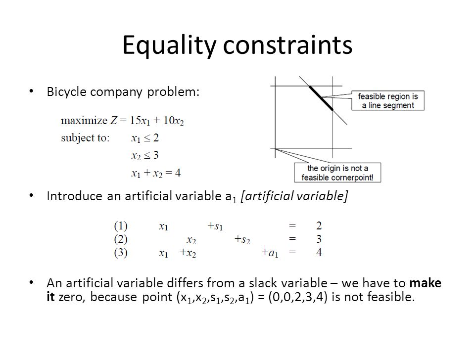 Equality constraints Bicycle company problem: Introduce an artificial variable a 1 [artificial variable] An artificial variable differs from a slack variable – we have to make it zero, because point (x 1,x 2,s 1,s 2,a 1 ) = (0,0,2,3,4) is not feasible.