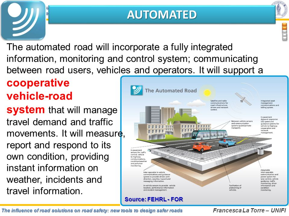 The influence of road solutions on road safety: new tools to design safer roads Francesca La Torre – UNIFI Safe road infrastructure: from concept to realizationSafe road infrastructure: from concept to realization Wrocław, December 4-6, 2012 Source: FEHRL - FOR AUTOMATEDAUTOMATED The automated road will incorporate a fully integrated information, monitoring and control system; communicating between road users, vehicles and operators.
