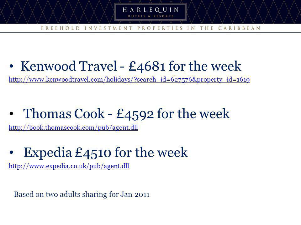 Kenwood Travel - £4681 for the week   search_id=627576&property_id=1619 Thomas Cook - £4592 for the week   Expedia £4510 for the week   Based on two adults sharing for Jan 2011