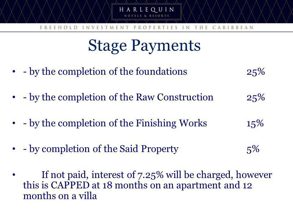Stage Payments - by the completion of the foundations 25% - by the completion of the Raw Construction 25% - by the completion of the Finishing Works 15% - by completion of the Said Property 5% If not paid, interest of 7.25% will be charged, however this is CAPPED at 18 months on an apartment and 12 months on a villa