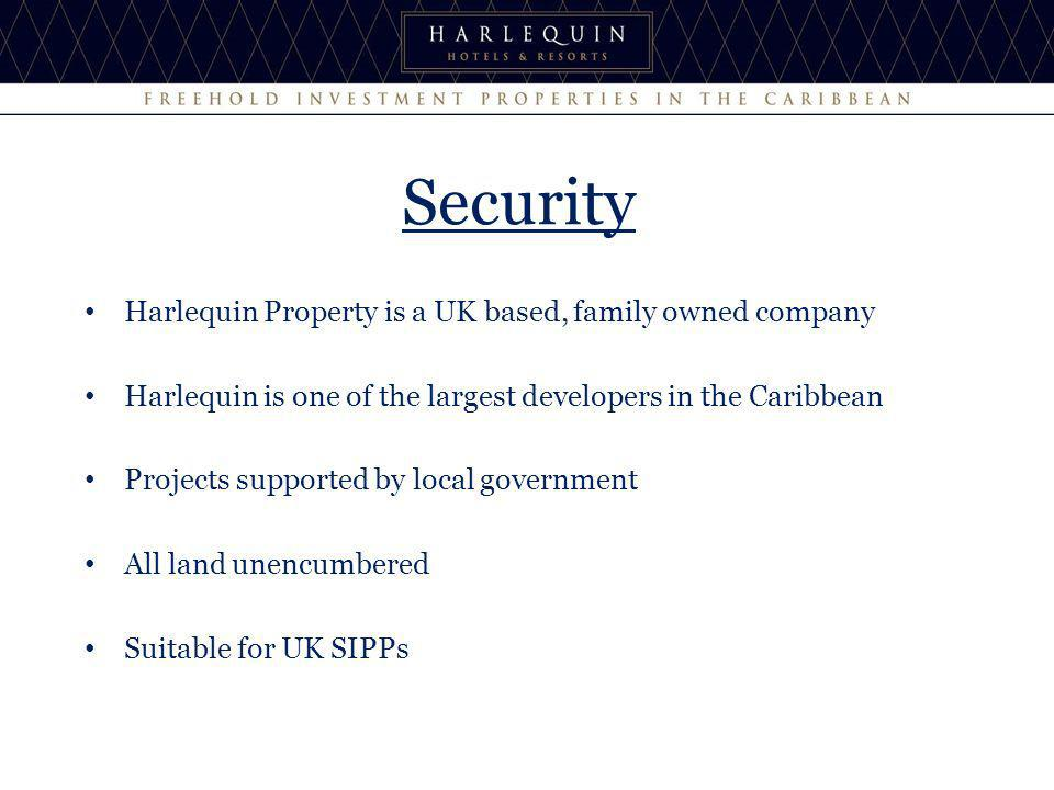 Harlequin Property is a UK based, family owned company Harlequin is one of the largest developers in the Caribbean Projects supported by local government All land unencumbered Suitable for UK SIPPs Security