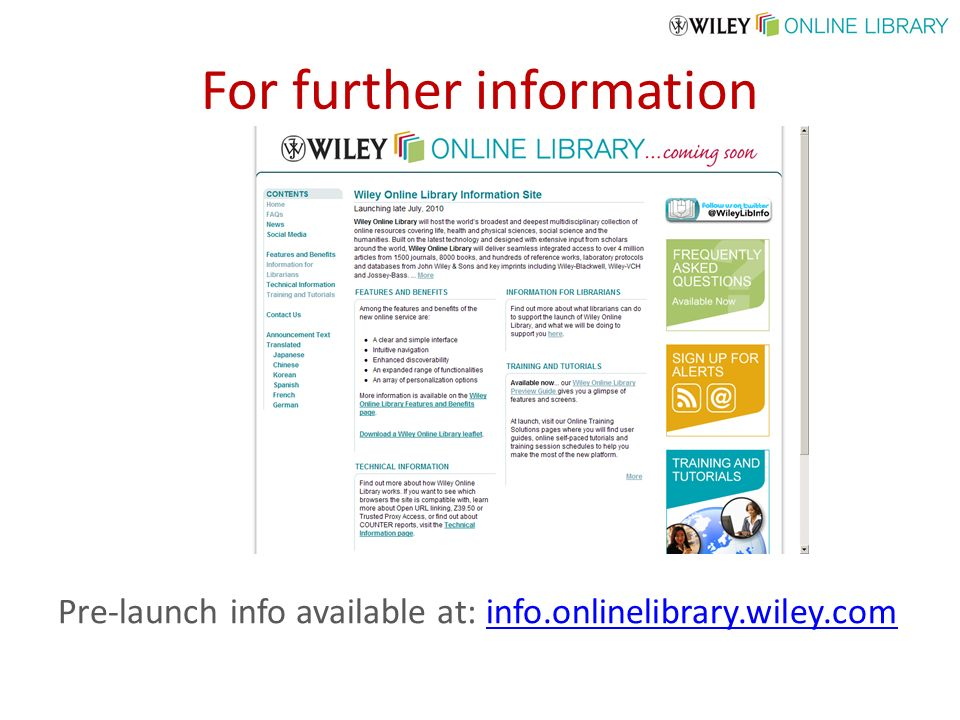 For further information Pre-launch info available at: info.onlinelibrary.wiley.cominfo.onlinelibrary.wiley.com
