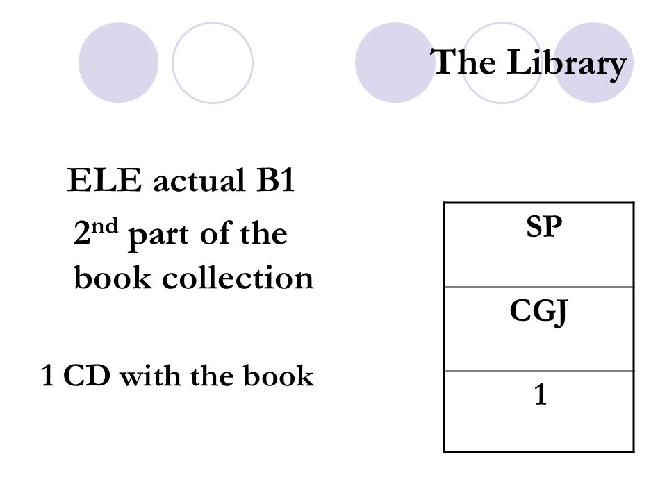 The Library ELE actual B1 2 nd part of the book collection 1 CD with the book SP CGJ 1