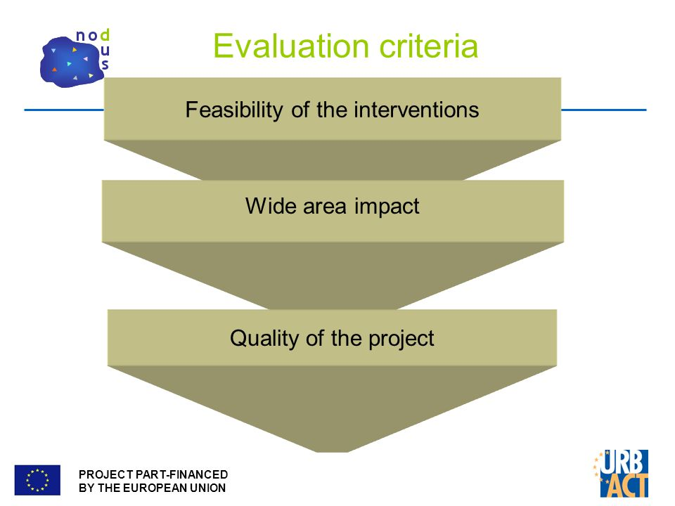 PROJECT PART-FINANCED BY THE EUROPEAN UNION Evaluation criteria Feasibility of the interventions Wide area impact Quality of the project