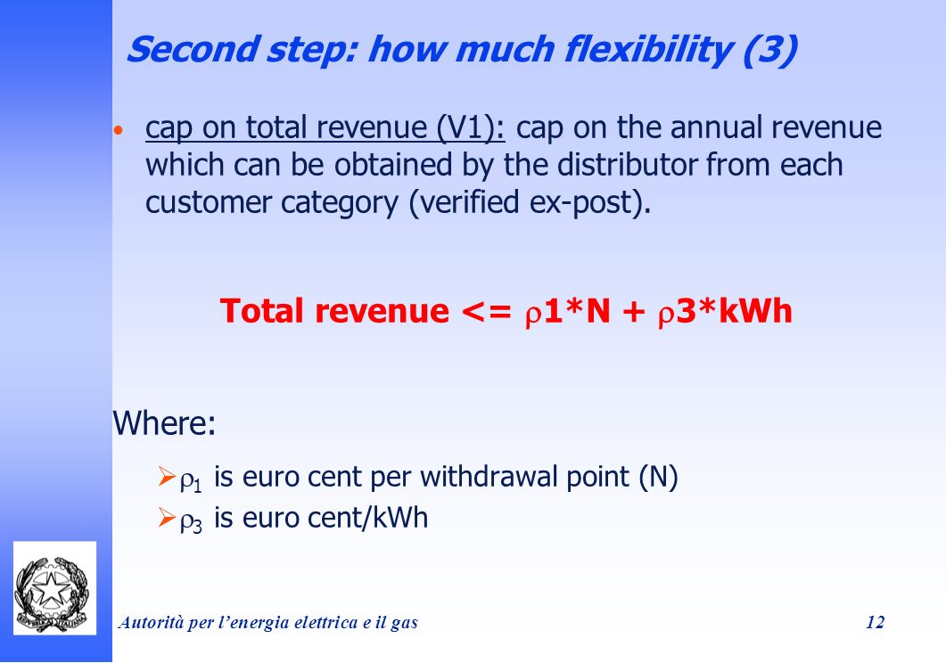 Autorità per lenergia elettrica e il gas 12 Second step: how much flexibility (3) cap on total revenue (V1): cap on the annual revenue which can be obtained by the distributor from each customer category (verified ex-post).