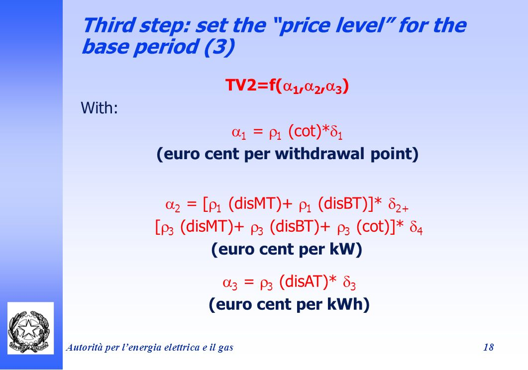 Autorità per lenergia elettrica e il gas 18 Third step: set the price level for the base period (3) TV2=f( 1, 2, 3 ) With: 1 = 1 (cot)* 1 (euro cent per withdrawal point) 2 = [ 1 (disMT)+ 1 (disBT)]* 2+ [ 3 (disMT)+ 3 (disBT)+ 3 (cot)]* 4 (euro cent per kW) 3 = 3 (disAT)* 3 (euro cent per kWh)