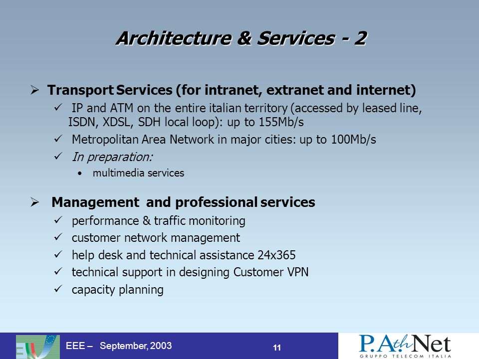 11 EEE – September, 2003 Architecture & Services - 2 Transport Services (for intranet, extranet and internet) IP and ATM on the entire italian territory (accessed by leased line, ISDN, XDSL, SDH local loop): up to 155Mb/s Metropolitan Area Network in major cities: up to 100Mb/s In preparation: multimedia services Management and professional services performance & traffic monitoring customer network management help desk and technical assistance 24x365 technical support in designing Customer VPN capacity planning