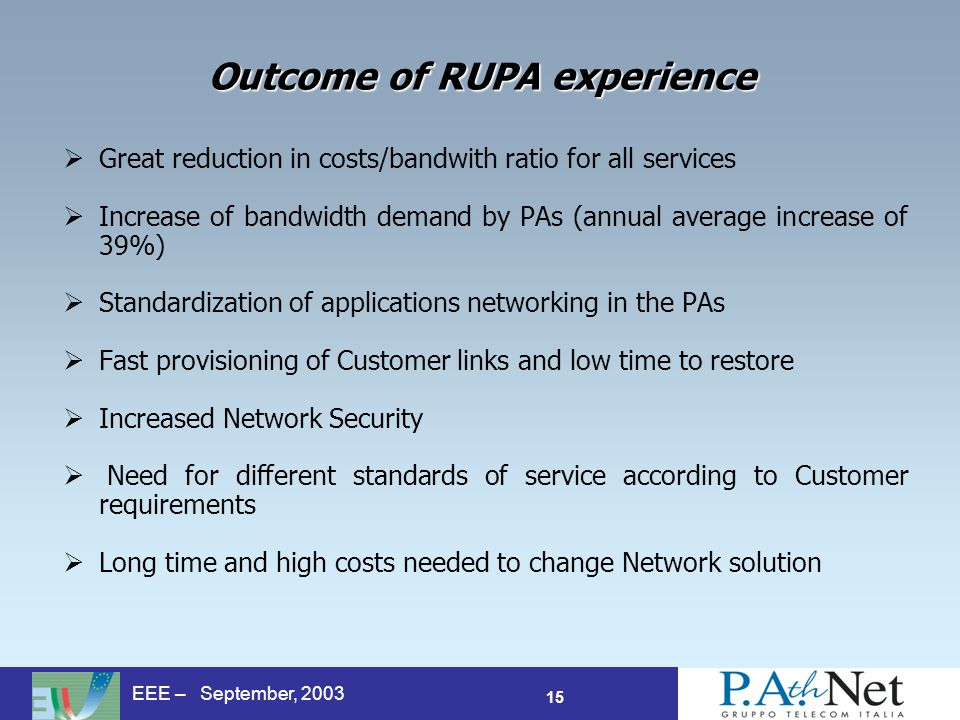 15 EEE – September, 2003 Outcome of RUPA experience Great reduction in costs/bandwith ratio for all services Increase of bandwidth demand by PAs (annual average increase of 39%) Standardization of applications networking in the PAs Fast provisioning of Customer links and low time to restore Increased Network Security Need for different standards of service according to Customer requirements Long time and high costs needed to change Network solution