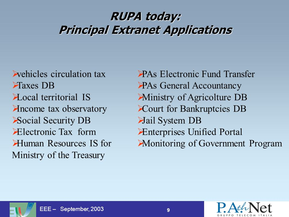 9 EEE – September, 2003 RUPA today: Principal Extranet Applications vehicles circulation tax Taxes DB Local territorial IS Income tax observatory Social Security DB Electronic Tax form Human Resources IS for Ministry of the Treasury PAs Electronic Fund Transfer PAs General Accountancy Ministry of Agricolture DB Court for Bankruptcies DB Jail System DB Enterprises Unified Portal Monitoring of Government Program