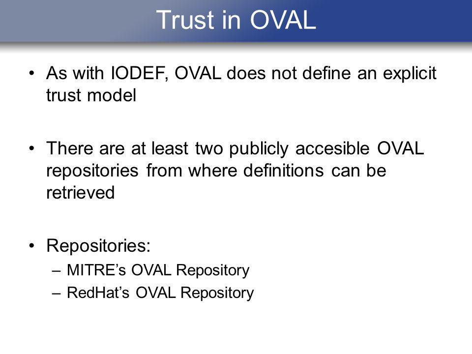 Trust in OVAL As with IODEF, OVAL does not define an explicit trust model There are at least two publicly accesible OVAL repositories from where definitions can be retrieved Repositories: –MITREs OVAL Repository –RedHats OVAL Repository