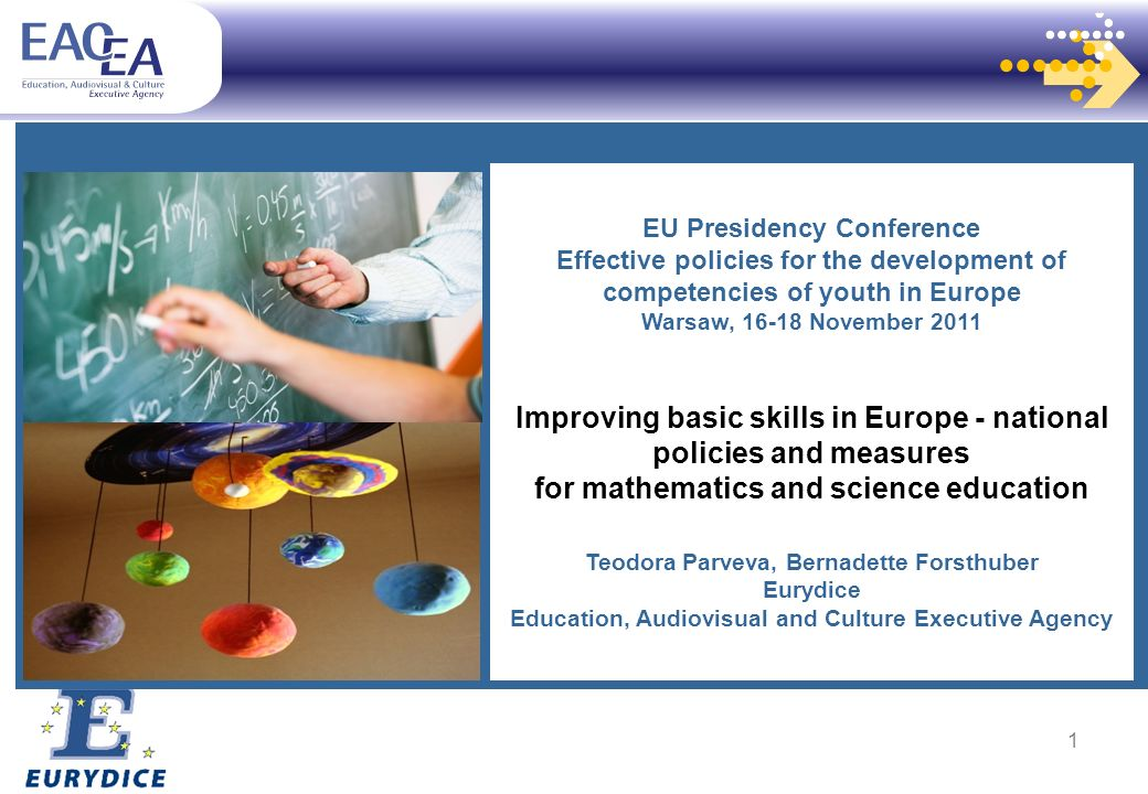 EU Presidency Conference Effective policies for the development of competencies of youth in Europe Warsaw, November 2011 Improving basic skills in Europe - national policies and measures for mathematics and science education Teodora Parveva, Bernadette Forsthuber Eurydice Education, Audiovisual and Culture Executive Agency 1
