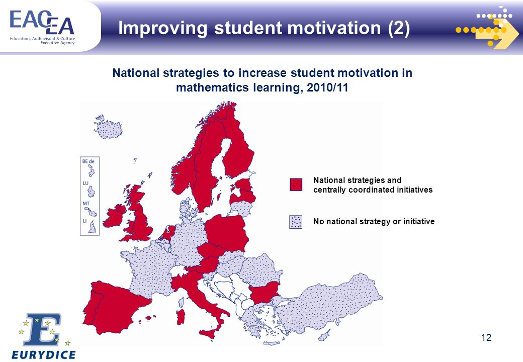 Improving student motivation (2) National strategies to increase student motivation in mathematics learning, 2010/11 National strategies and centrally coordinated initiatives No national strategy or initiative 12
