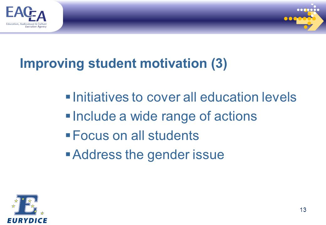 Improving student motivation (3) Initiatives to cover all education levels Include a wide range of actions Focus on all students Address the gender issue 13