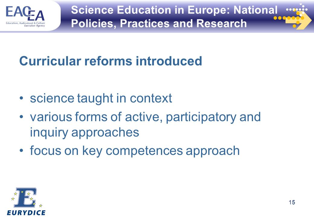 Science Education in Europe: National Policies, Practices and Research Curricular reforms introduced science taught in context various forms of active, participatory and inquiry approaches focus on key competences approach 15