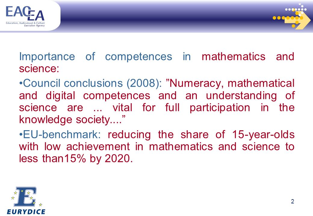 Importance of competences in mathematics and science: Council conclusions (2008): Numeracy, mathematical and digital competences and an understanding of science are...