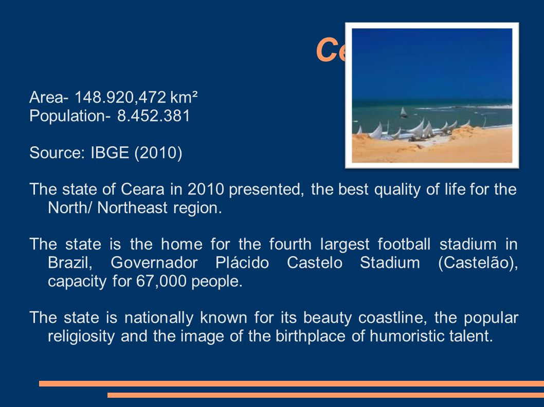 Area ,472 km² Population Source: IBGE (2010) The state of Ceara in 2010 presented, the best quality of life for the North/ Northeast region.
