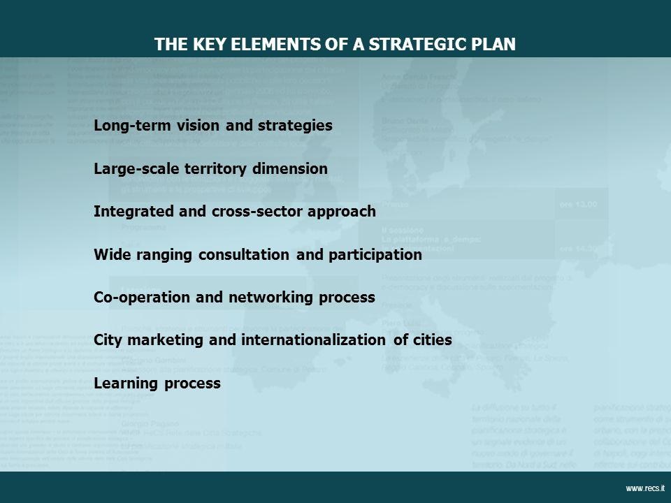Long-term vision and strategies Large-scale territory dimension Integrated and cross-sector approach Wide ranging consultation and participation Co-operation and networking process City marketing and internationalization of cities Learning process THE KEY ELEMENTS OF A STRATEGIC PLAN