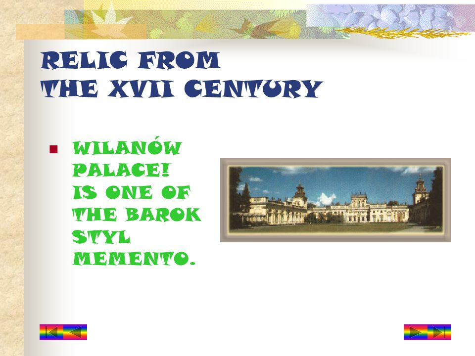RELIC FROM THE XVII CENTURY WILANÓW PALACE! IS ONE OF THE BAROK STYL MEMENTO.