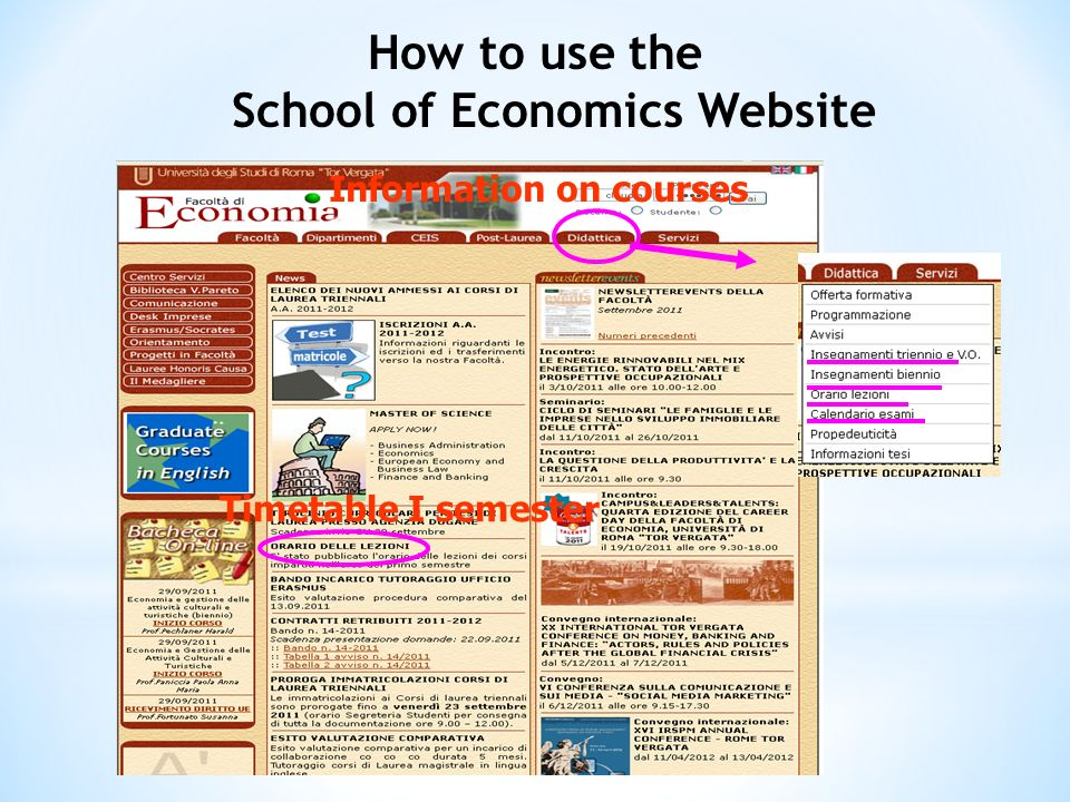 Timetable I semester Information on courses How to use the School of Economics Website
