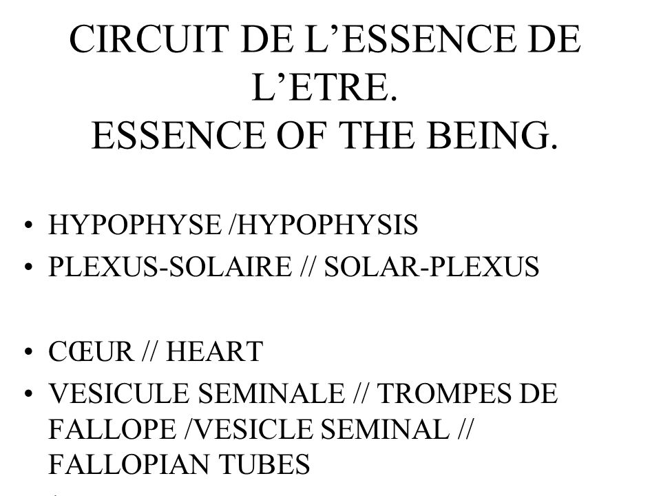 CIRCUIT DE LESSENCE DE LETRE. ESSENCE OF THE BEING.