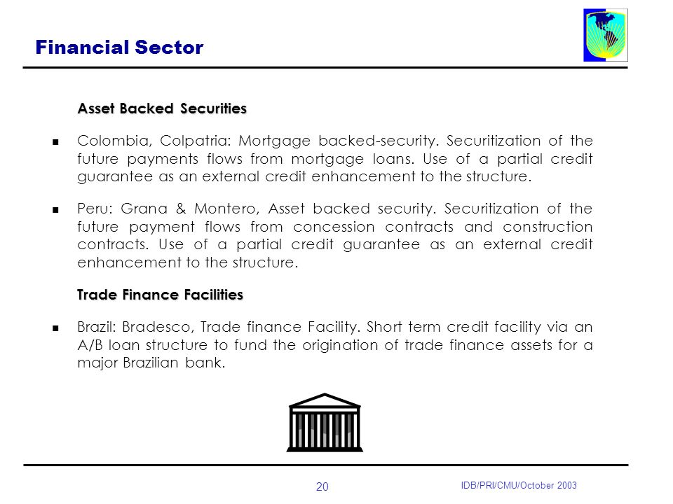 20 IDB/PRI/CMU/October 2003 Financial Sector Asset Backed Securities Colombia, Colpatria: Mortgage backed-security.