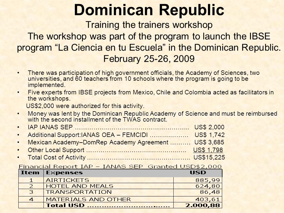 Dominican Republic Training the trainers workshop The workshop was part of the program to launch the IBSE program La Ciencia en tu Escuela in the Dominican Republic.