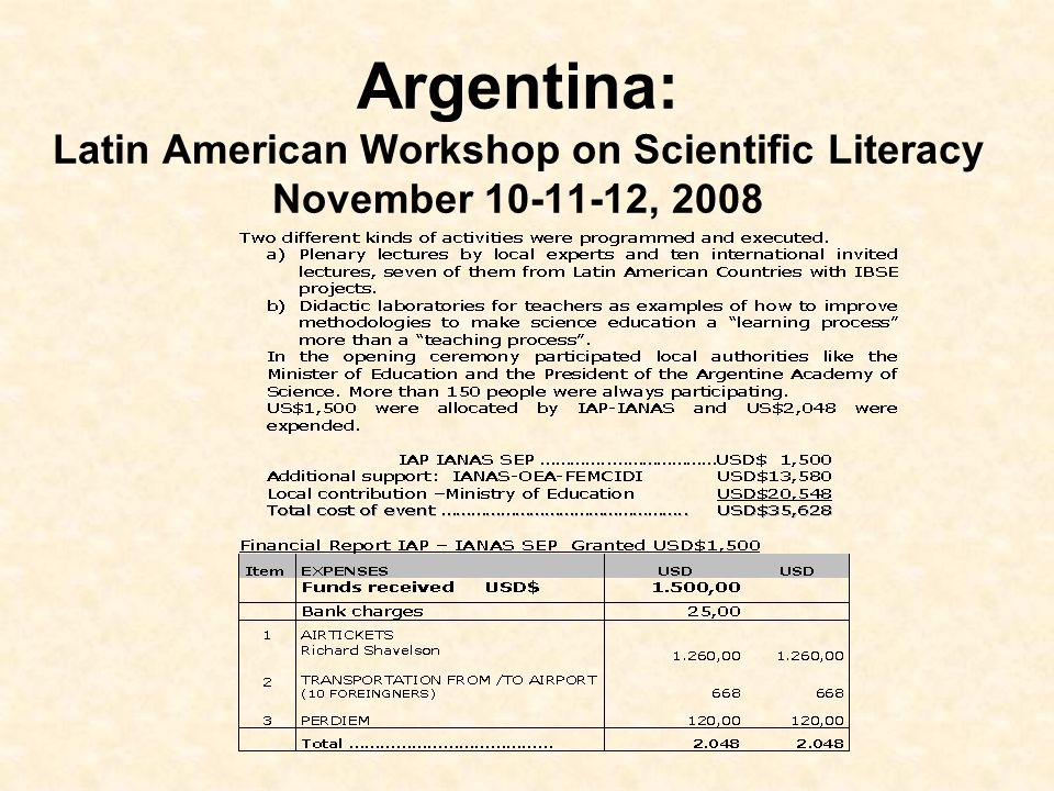 Argentina: Latin American Workshop on Scientific Literacy November 10-11-12, 2008