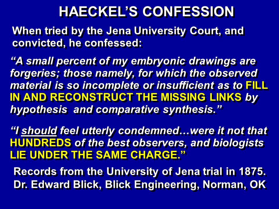 Haeckels Confession HAECKELS CONFESSION When tried by the Jena University Court, and convicted, he confessed: A small percent of my embryonic drawings are forgeries; those namely, for which the observed material is so incomplete or insufficient as to FILL IN AND RECONSTRUCT THE MISSING LINKS by hypothesis and comparative synthesis.