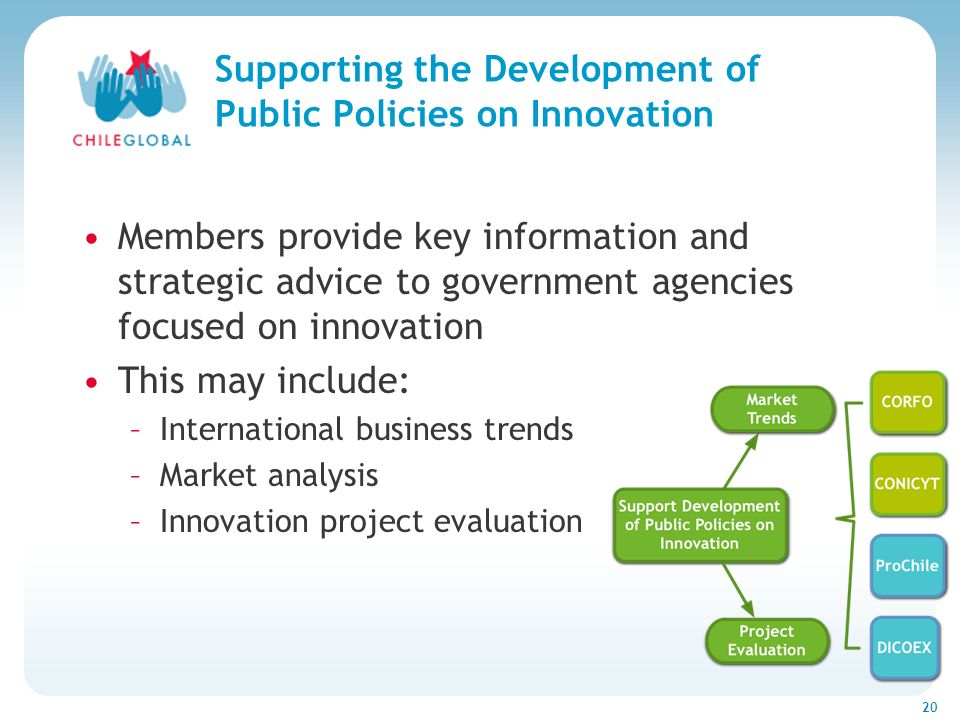 Haga clic para cambiar el estilo de títu 20 Supporting the Development of Public Policies on Innovation Members provide key information and strategic advice to government agencies focused on innovation This may include: –International business trends –Market analysis –Innovation project evaluation