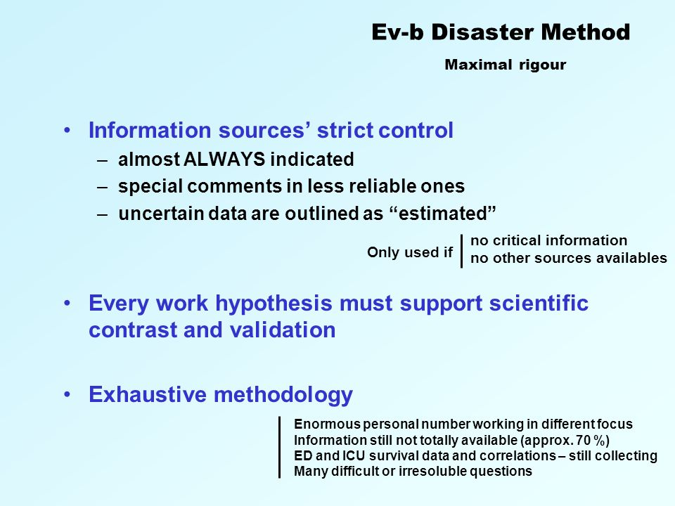 The conscientious, explicit, and judicious use of current best evidence in making decisions about the management of disasters Badenoch D.