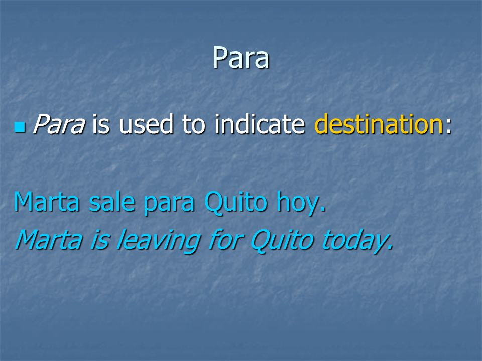 Para Para is used to indicate something abnormal: Para is used to indicate something abnormal: Para americano Ud.