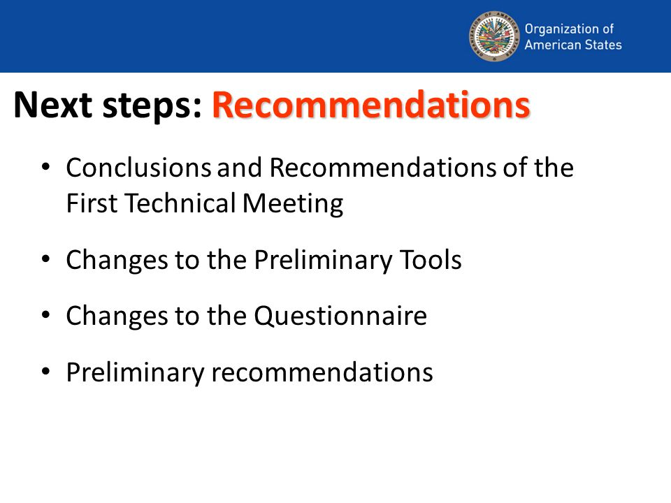 Recommendations Next steps: Recommendations Conclusions and Recommendations of the First Technical Meeting Changes to the Preliminary Tools Changes to the Questionnaire Preliminary recommendations