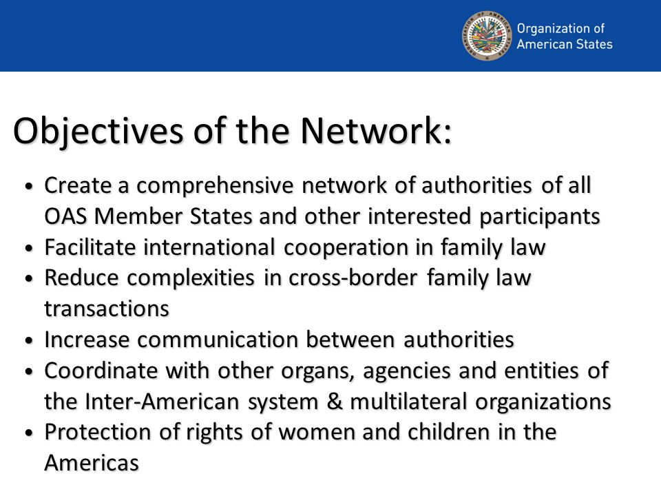 Objectives of the Network: Create a comprehensive network of authorities of all OAS Member States and other interested participants Create a comprehensive network of authorities of all OAS Member States and other interested participants Facilitate international cooperation in family law Facilitate international cooperation in family law Reduce complexities in cross-border family law transactions Reduce complexities in cross-border family law transactions Increase communication between authorities Increase communication between authorities Coordinate with other organs, agencies and entities of the Inter-American system & multilateral organizations Coordinate with other organs, agencies and entities of the Inter-American system & multilateral organizations Protection of rights of women and children in the Americas Protection of rights of women and children in the Americas