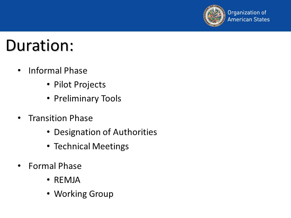 Duration: Informal Phase Pilot Projects Preliminary Tools Transition Phase Designation of Authorities Technical Meetings Formal Phase REMJA Working Group