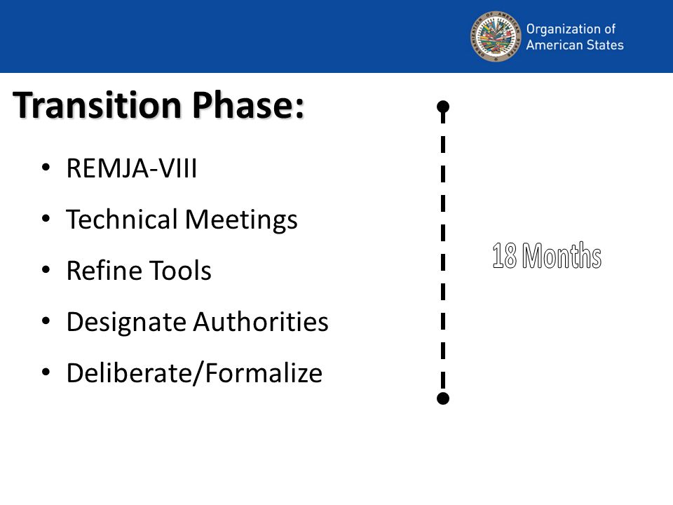 Transition Phase: REMJA-VIII Technical Meetings Refine Tools Designate Authorities Deliberate/Formalize