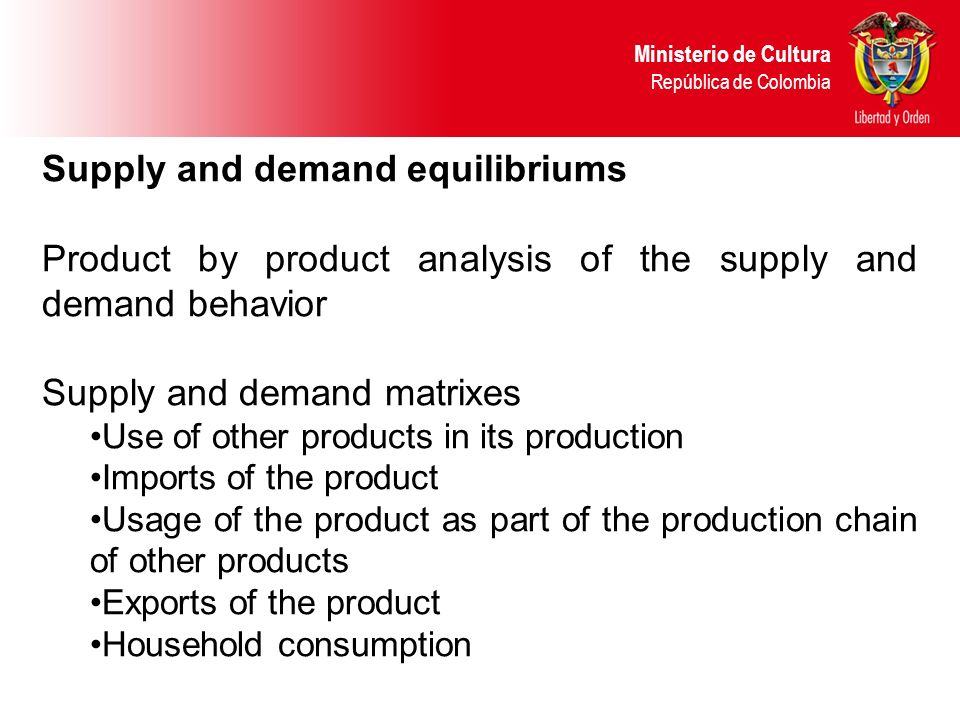 Supply and demand equilibriums Product by product analysis of the supply and demand behavior Supply and demand matrixes Use of other products in its production Imports of the product Usage of the product as part of the production chain of other products Exports of the product Household consumption Ministerio de Cultura República de Colombia
