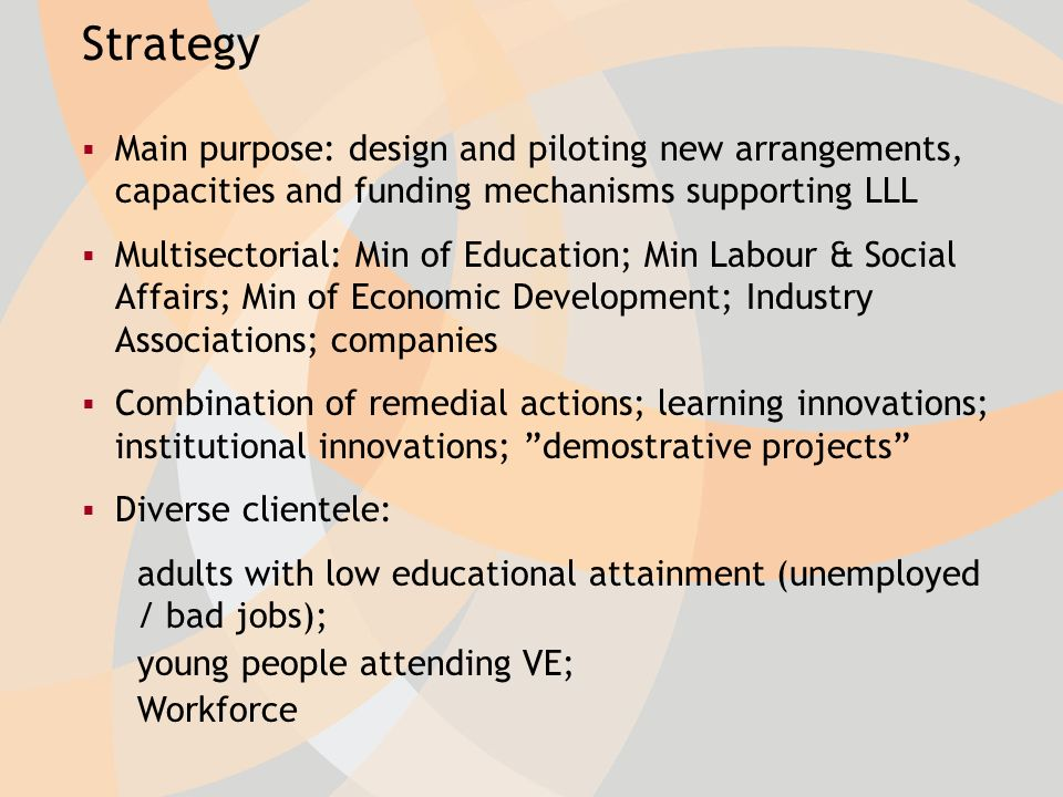 Strategy Main purpose: design and piloting new arrangements, capacities and funding mechanisms supporting LLL Multisectorial: Min of Education; Min Labour & Social Affairs; Min of Economic Development; Industry Associations; companies Combination of remedial actions; learning innovations; institutional innovations; demostrative projects Diverse clientele: adults with low educational attainment (unemployed / bad jobs); young people attending VE; Workforce