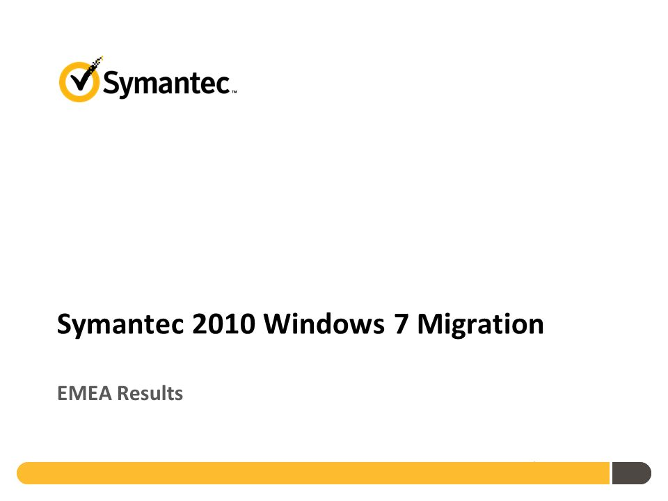 Symantec 2010 Windows 7 Migration EMEA Results