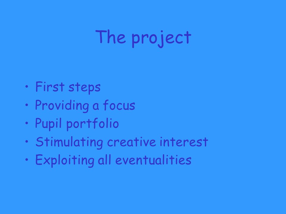 The project First steps Providing a focus Pupil portfolio Stimulating creative interest Exploiting all eventualities